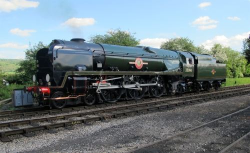 35006 in the sunshine at the Gloucester and Warwickshire Railway folowing her first passenger run on 16th May 2016 for Society Members and Shareholders