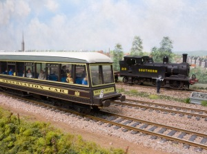 Passengers having paid the supplement enjoy the view from the '00 Works' Devon Belle observation car