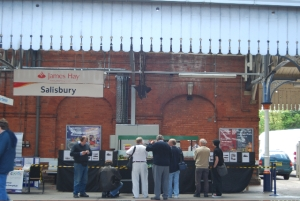 Fisherton Sarum is viewed by visitors to Platform 4 at Salisbury