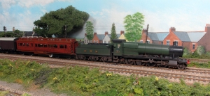 28xx number 3803 from a Hornby model passes Fisherton Sarum during the trials.