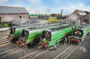 A line up of Bullleid Pacifics on shed at Fisherton Sarum