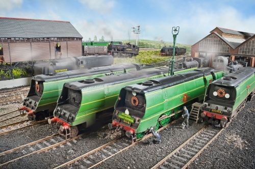 "A line up of Bulleid Pacific's outside Fisherton Sarum shed. 21C102 ""Salisbury"" on the far left is modified Hornby fitted with original style cab and short smoke deflectors. 21C103 ""Plymouth"" is on the right and has the same modifications as 21C102. Between them are two Merchant Navy Pacific's on the left is a Series 3 build 35023 ""Holland-Afrika Line"", next to Series 1 build 21C6 ""Peninsular and Orient Line"" both built from Millholme whitemetal kits"