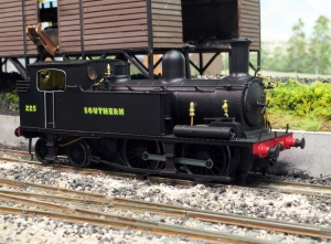Kernow Models K2105 number 225 as mainland pull push fitted sits awaiting coaling on Fisherton Sarum