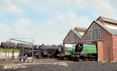 A line up on shed, including Bulleid Light Pacific 21C103 'Plymouth', M7 243, Bulleid Leader 36001, G16 494 and a Beattie well tank 30586