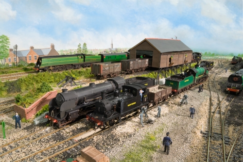 A busy time at Fisherton Sarum, G6 Class No. 237 shunts the ash wagon, whilst N15 Clss locomotives 746 'Pendragon' and 782 'Sir Brian' await their next turn of duty. Bulleid West Country class No. 21c121 'Dartmoor', a much modified Hornby Margate manufactured model heads west.