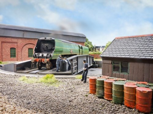 Bulleid Merchant Navy 35023 'Holland-Afrika Line' is turned at Fisherton Sarum