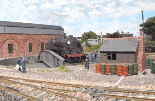 Urie N15 Class No 744 'Maid of Astolat' is turned at Fisherton Sarum