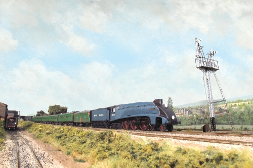 Gresley A4 class 60033 'Seagull' heads to London on a locomotive exchanges route familiarisation working in May 1948. The Home signal that controls entry to Platform 1 or 3 at Salisbury Station is made from model Signal Engineering components.